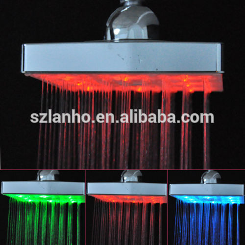 "2016 new 3 Color changing LED 6"" Square Thermostat Self-generating Top Shower Head"