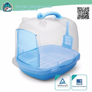 Cat Clean Up Products new premium plastic indoor Transparent Dome covered double layer pet litter box,cat litter pan