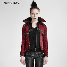Y-254 unique designs red women gothic stand collar leather short jacket