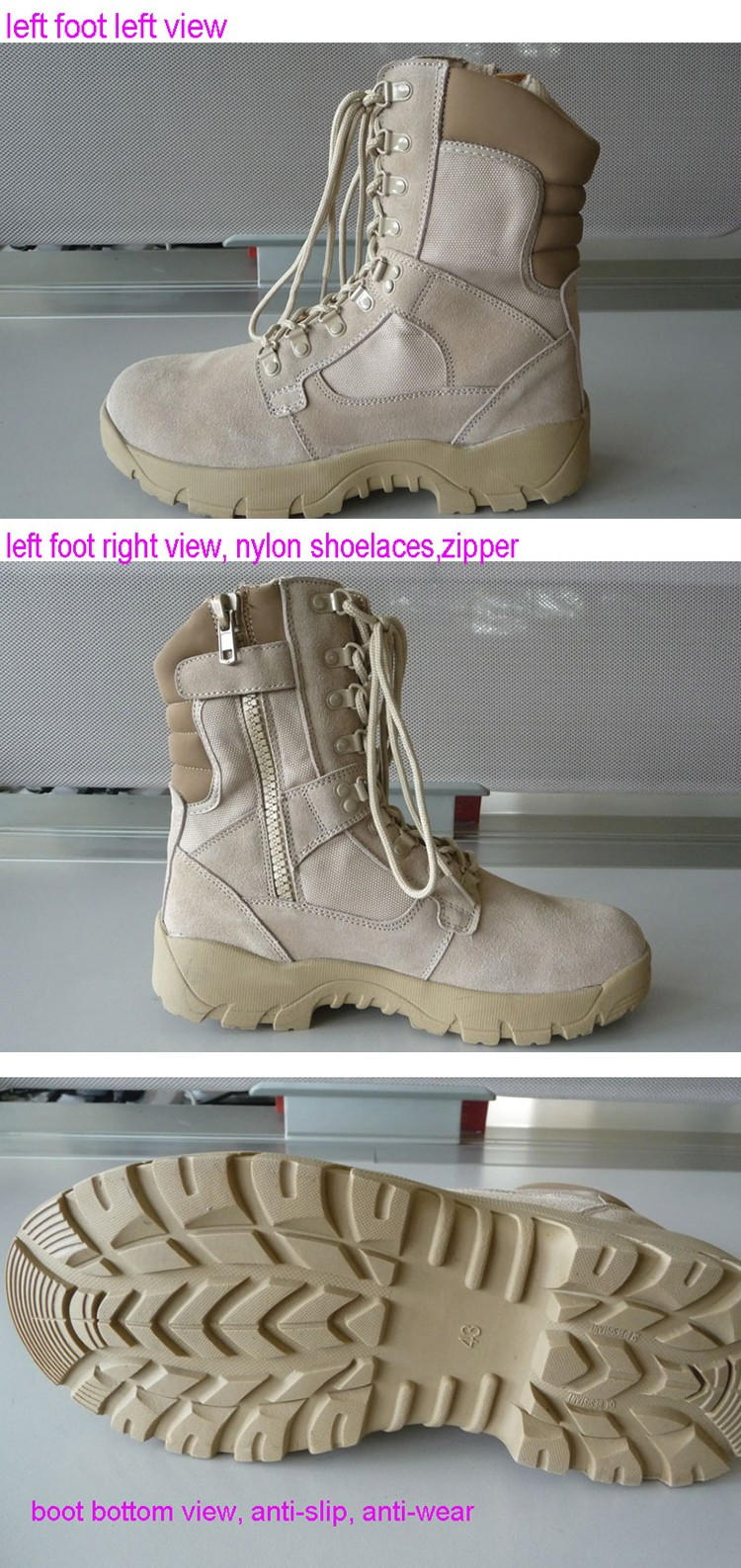 Wholesale US army cow split ankle protection quick release combat suede leather army boots