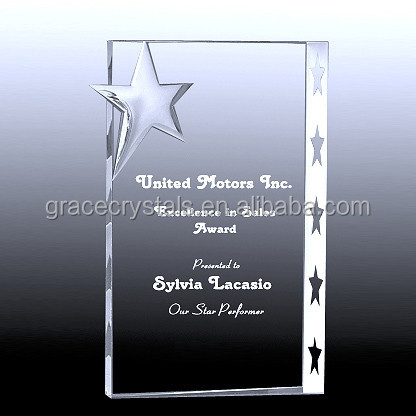 crystal book awards with frosted star