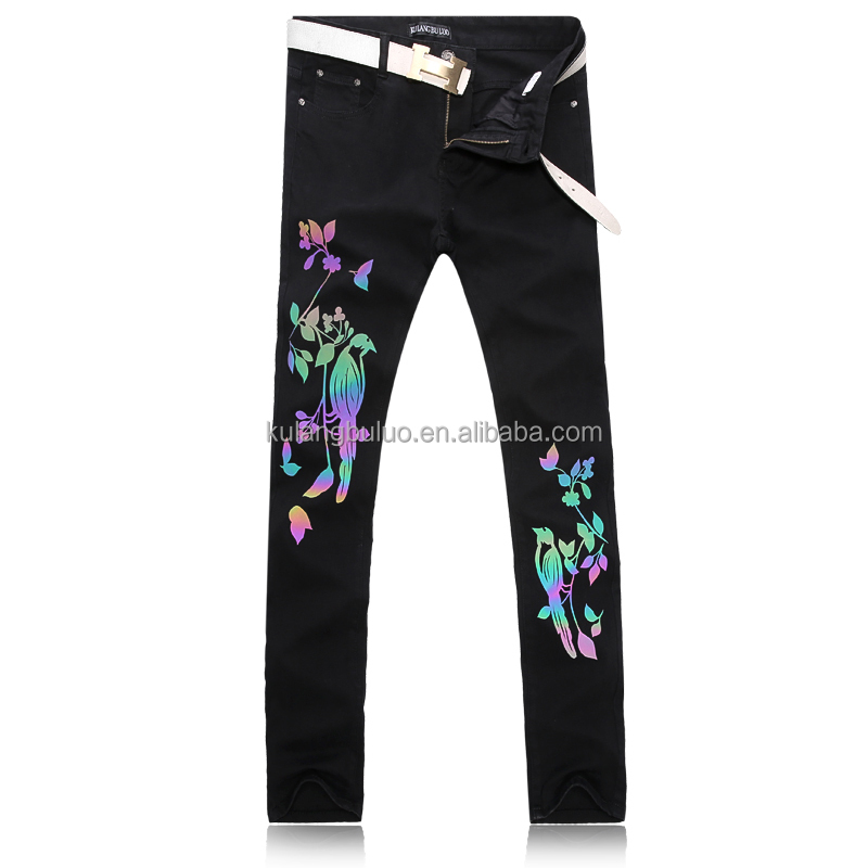 Party Reflective Printed Jeans Small Feet Pants Trousers Mens Y076