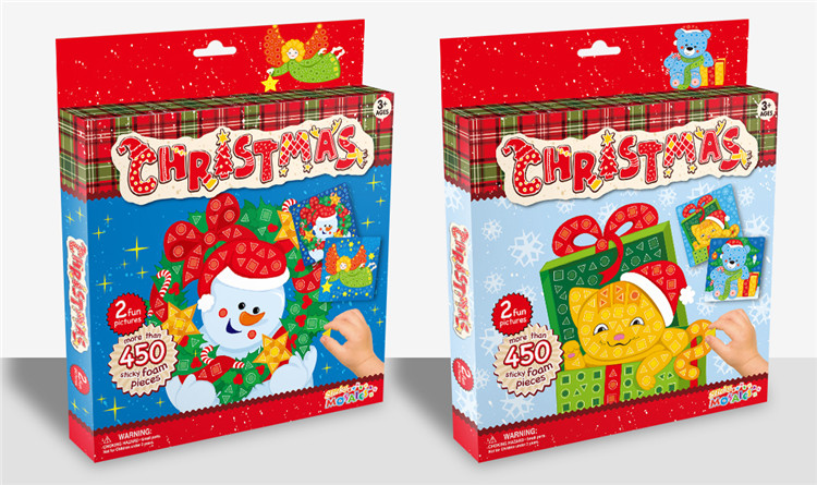 Christmas Gift Toys Educational DIY Sticky Foam Mosaic Puzzles For Kids