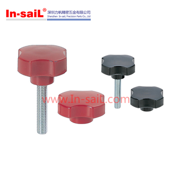 Nylon plastic star knobs with threaded bolt
