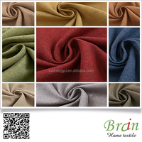 High quality plain weave 100% polyester linen look hotel blackout curtain fabric