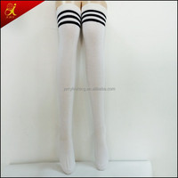 young girl fashion wear knee high white socks women knee socks
