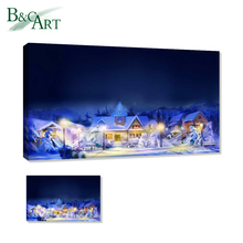 Christmas LED decorative painting oil on canvas painted OR printing high-quality family holiday decoration pictures