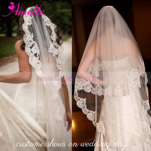 One Lay Lace Appliques 3Meters Bridal Long Size Veil for Wedding Dress