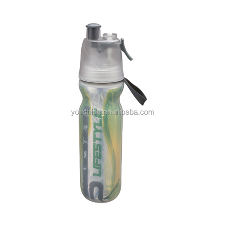 Hot sale double wall PE material 500ml plastic mist spray water bottle