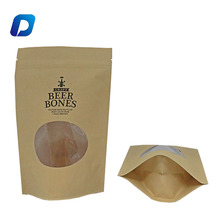 Heat seal stand up brown craft paper bags for coffee packing with window