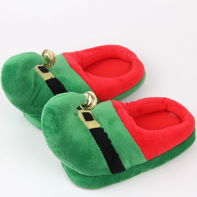 Christmas gift santa design warm plush indoor house kids slippers