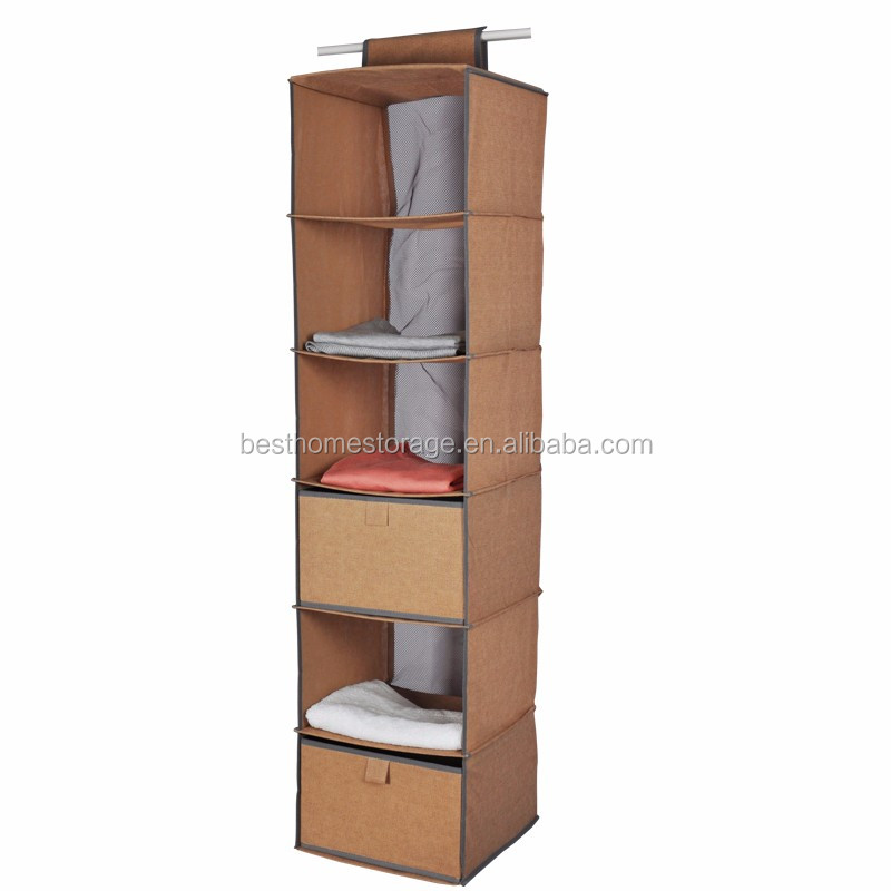 6 shelf hanging closet organizer wardrobe clothes storage No closet hanging solutions
