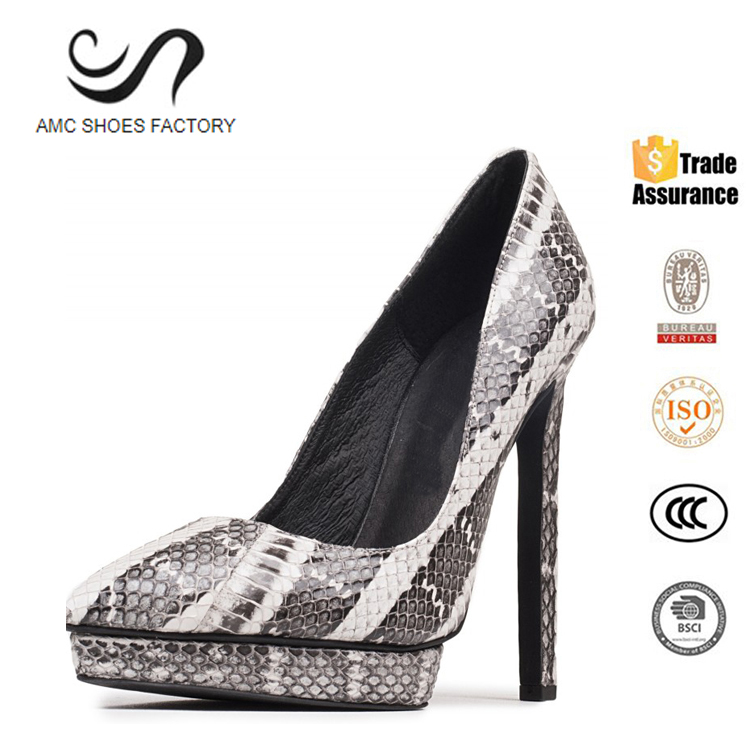 Wholesale China Factory Snake Leather Platform High Heel Women Dress Shoes