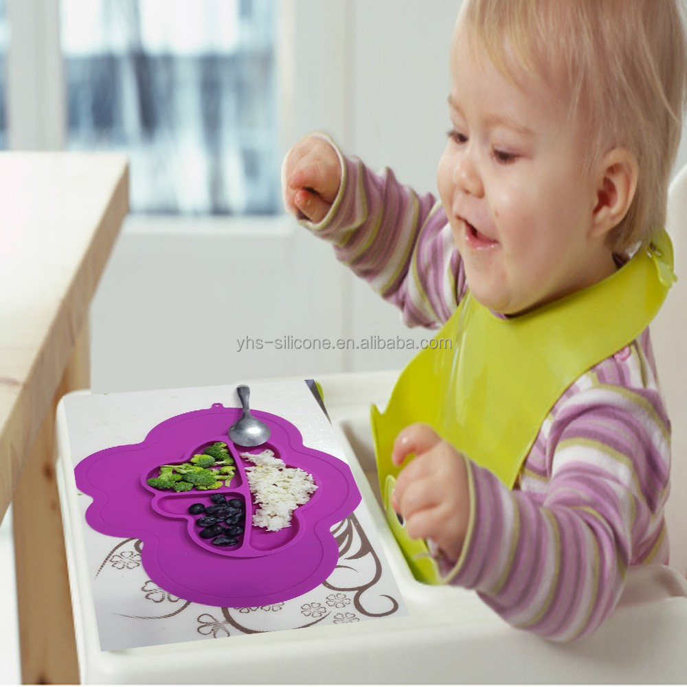 BPA Free 1PC 3 Compartment Silicone Baby Placement, Baby Silicone TableMat with Bowl
