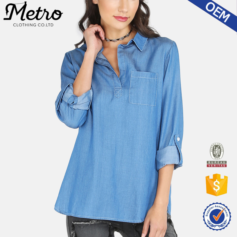 Latest Design Denim Blue Women Fashion Casual Blouse 2016