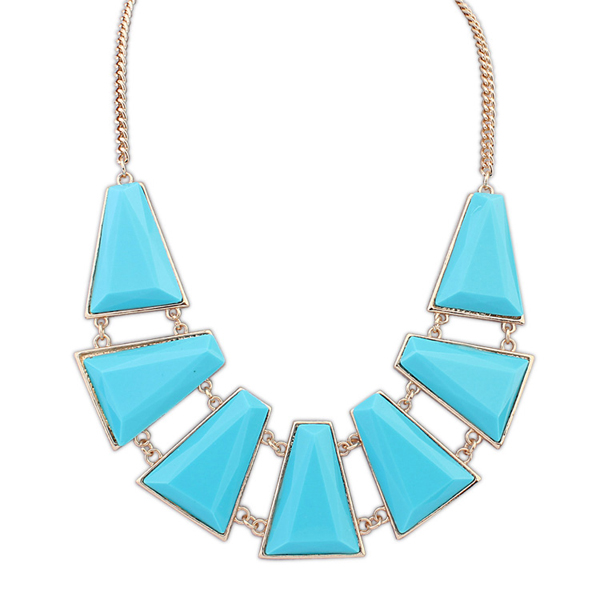 Light blue rhinestone jewelry wholesale china chunky chain plastic link necklace gold rope necklace chains PN2123