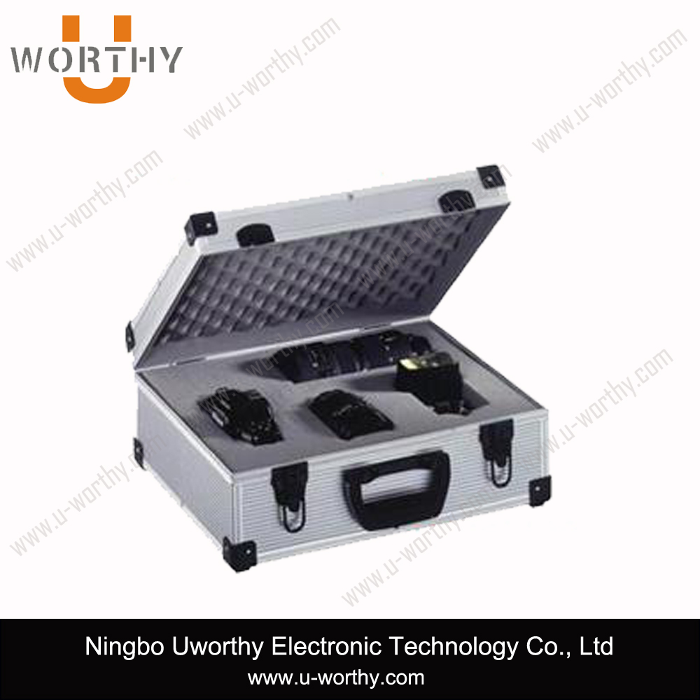 high quality hard portable aluminum camera carry storage case with removable adjustable divider