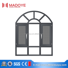 Top grade wood color aluminium Casement arch Window with mosquito net