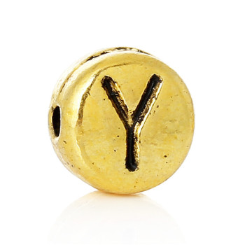 "Spacer Beads Flat Round Gold Tone Alphabet/Letter ""Y"" Pattern About 7mm Dia, Hole:Approx 1.2mm, 100 PCs"