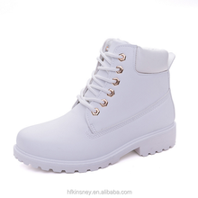 KS30145A 2018 Fancy Pure White Flat Boots Autumn Winter Women Ankle Boots