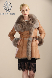 New Collection Sheepskin Fur Jacket Cold Winter Women's Fur Dress Posh Style Double Face Fur Coat