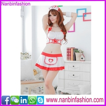 white and red two pcs japanese nurse girl costume in stock
