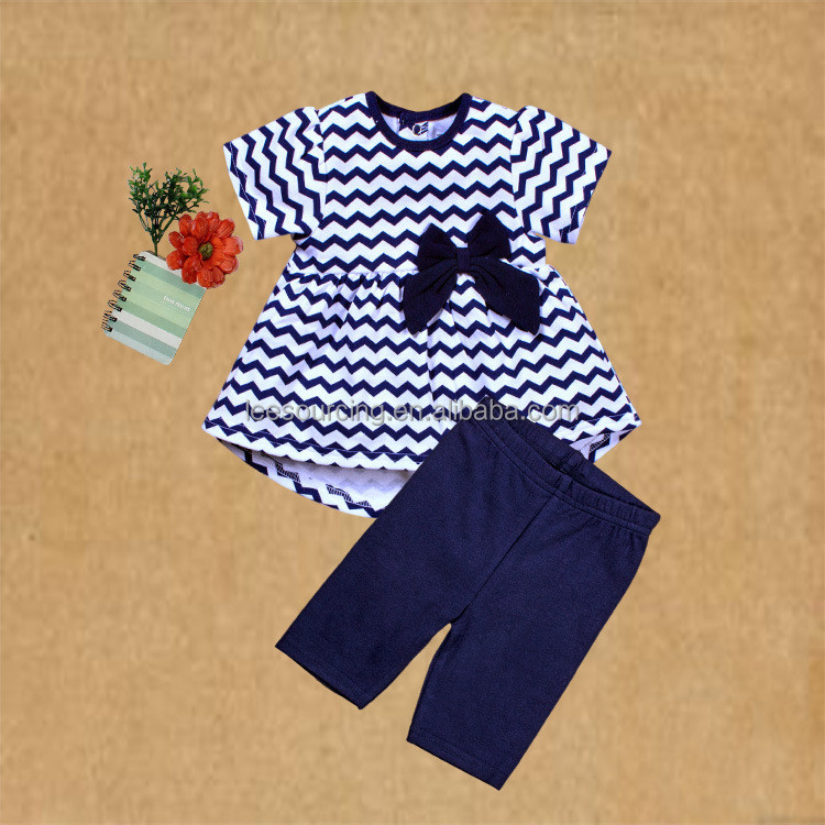 Newborn navy chevron swing top and pant 2 pcs cotton baby clothes set