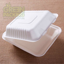 Bagasse compostable disposable food packaging box made from sugarcane /wheat straw