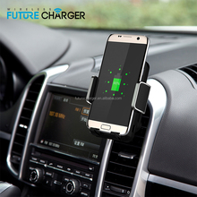 Hot selling Qi wireless mobile car charger for air vent/stick on the glass qi wireless car mount charger
