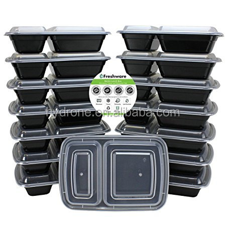 2 Compartment Bento Lunch Boxes with Lids - Stackable, Reusable, Microwave, Dishwasher & Freezer Safe - Meal Prep, Portion Contr