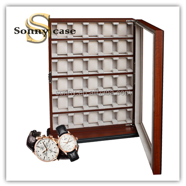 Wooden Pocket Watch Display Case with Glass Window