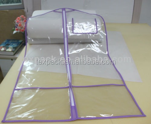 customized printed pvc plastic clear garment bags with pockets