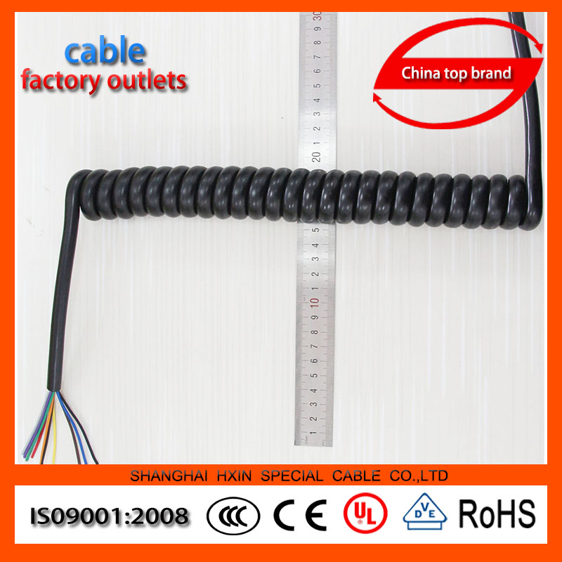 Factory Direct OEM 3 core multi core spiral coiled spring cable PUR insulated multi core spiral coiled spring cable