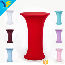 Table wedding decoration polyester cocktail stretch spandex table cloth bar table covers