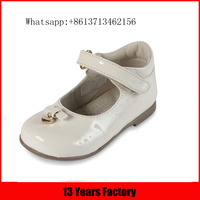 White mirror genuine leather upper heart shaped shoe ornaments flat lovely leather kids fancy baby girls shoes
