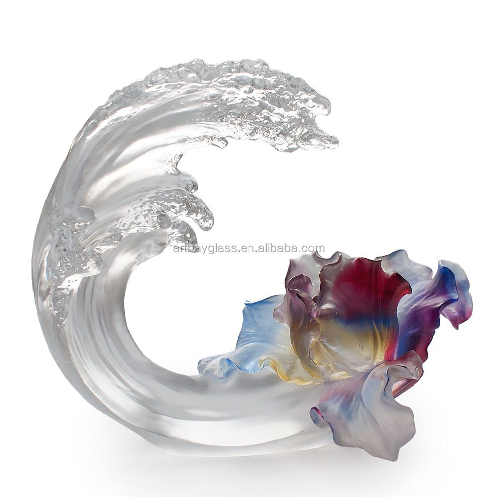 ARTBAY crystal glass pate de verre wave shape decoration flower stand