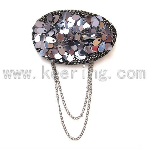 2014 Hot sale black hot shinning sequin brooches WBR-645