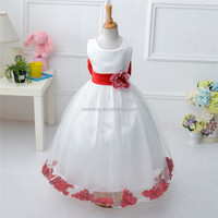 Romantic Chiffon Flower Skirt Kids Party Wear Dresses for Fat Girls