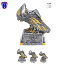 Antique silver shoe shaped football trophy with custom logo