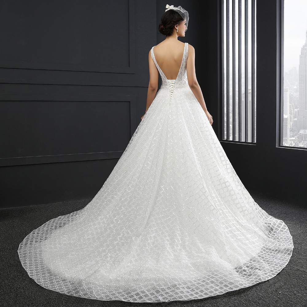 SL-3008 V-neck Sleeveles Backless A line Wedding Dress