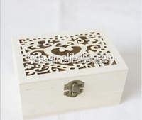 Unfinished small wooden box from natural wood wooden jewellery gift box