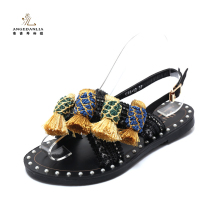 Fashion design women ladied fancy flat sandal shoes
