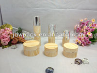 Round plastic type bamboo cosmetic jars for skin care cream use