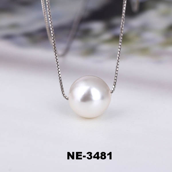 Newest Silver Single Pearl Necklace With Gold Plated 18 Inch Long Chain