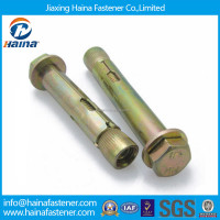 Whosale 4.8 grade color plated sleeve anchor bolt weight with hex head M16