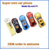 2016 hot selling car shape phone 0.66 inch model mini F1