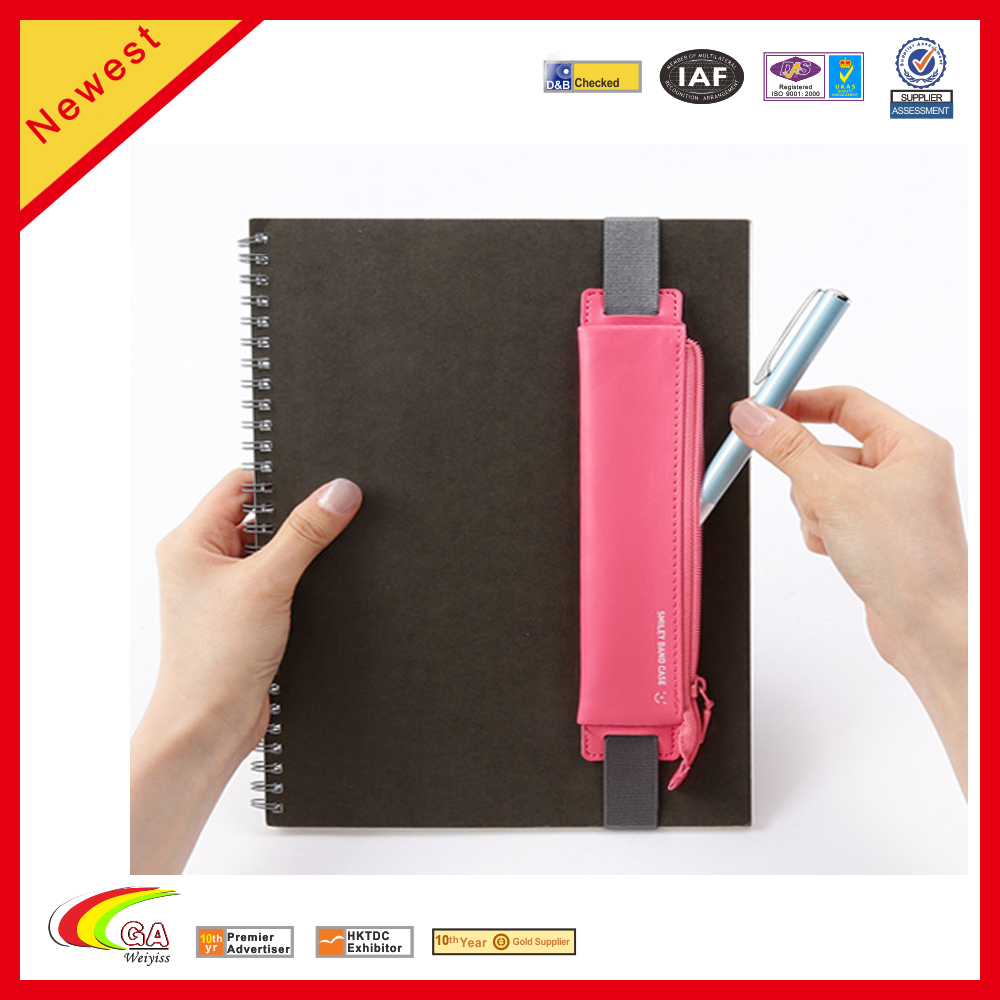 Soft Leather Book Bind Strap for Zipper Pencil Bag