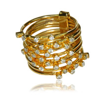CZ stacking 18 k gold plated sterling silver ring