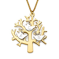 personalized stianless steel jewelry Gold Plated Tree Necklace with Silver Initial Birds