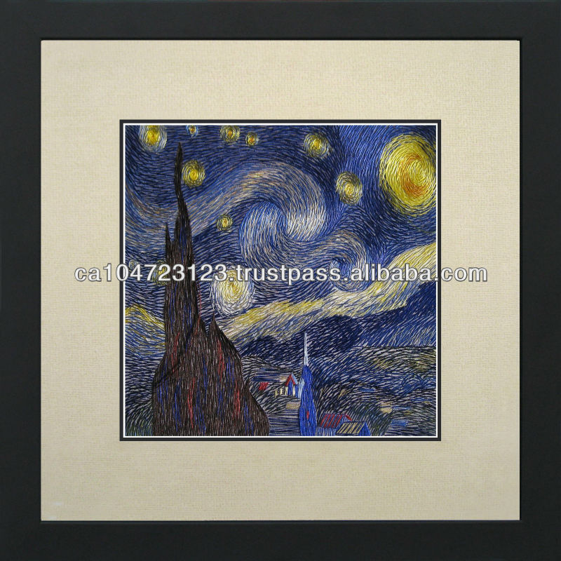 37062-Starry Night-Van Gogh--Susho, King Silk Art 100% Handmade Silk Embroidery
